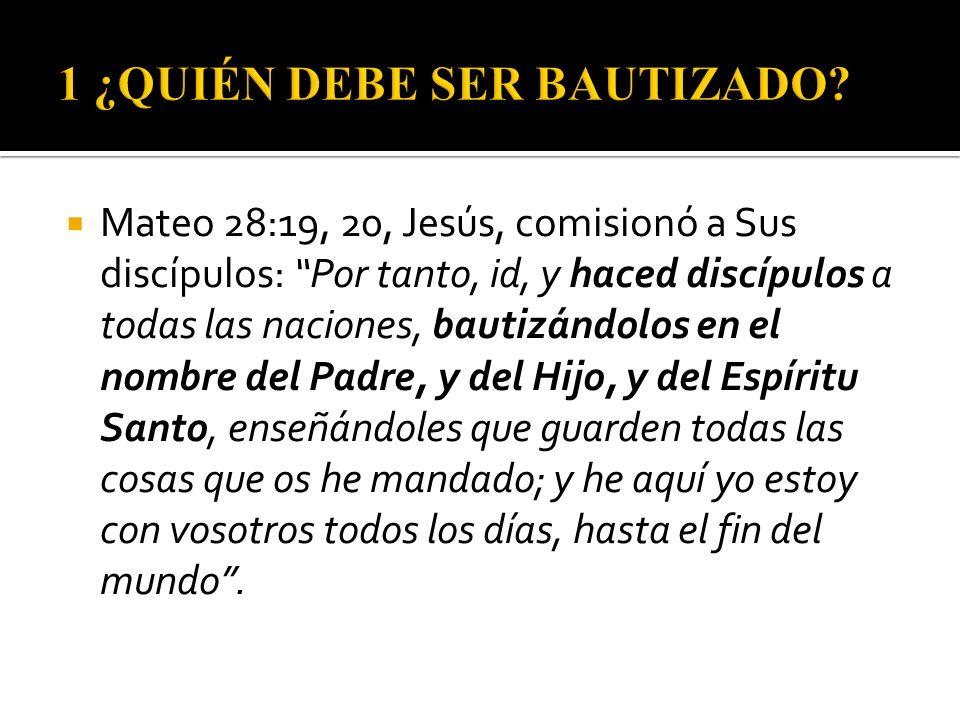 Mateo 28:19, 20, Jesús, comisionó a Sus discípulos: Por tanto, id, y haced discípulos a todas las naciones, bautizándolos en el nombre del Padre, y de