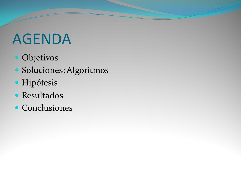 AGENDA Objetivos Soluciones: Algoritmos Hipótesis Resultados Conclusiones