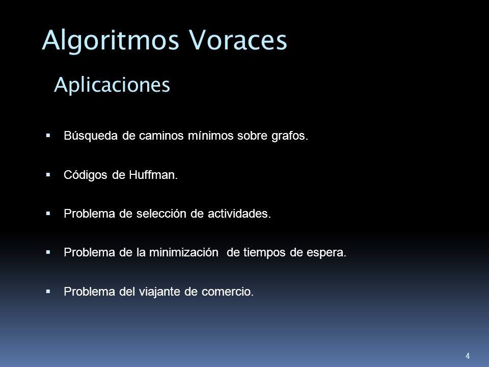 4 Búsqueda de caminos mínimos sobre grafos. Códigos de Huffman. Problema de selección de actividades. Problema de la minimización de tiempos de espera