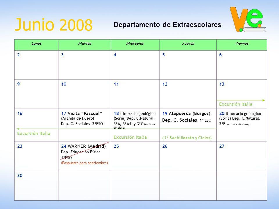 Junio 2008 Departamento de Extraescolares LunesMartesMiércolesJuevesViernes 23456 910111213 Excursión Italia 16 Excursión Italia 17 Visita Pascual (Aranda de Duero) Dep.
