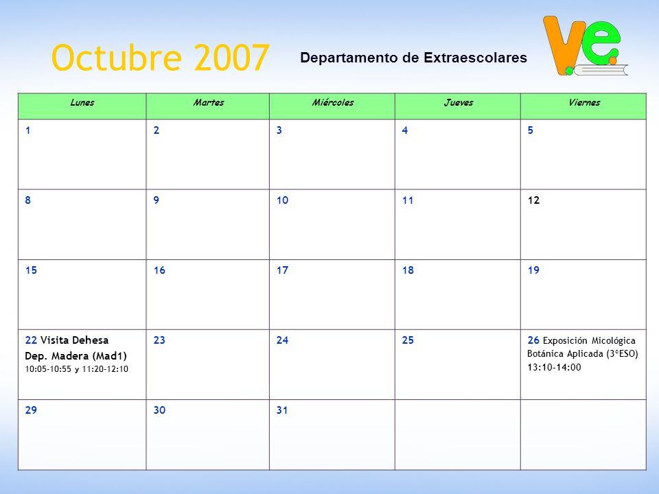 Octubre 2007 Departamento de Extraescolares LunesMartesMiércolesJuevesViernes 12345 89101112 1516171819 22 Visita Dehesa Dep. Madera (Mad1) 10:05-10:5