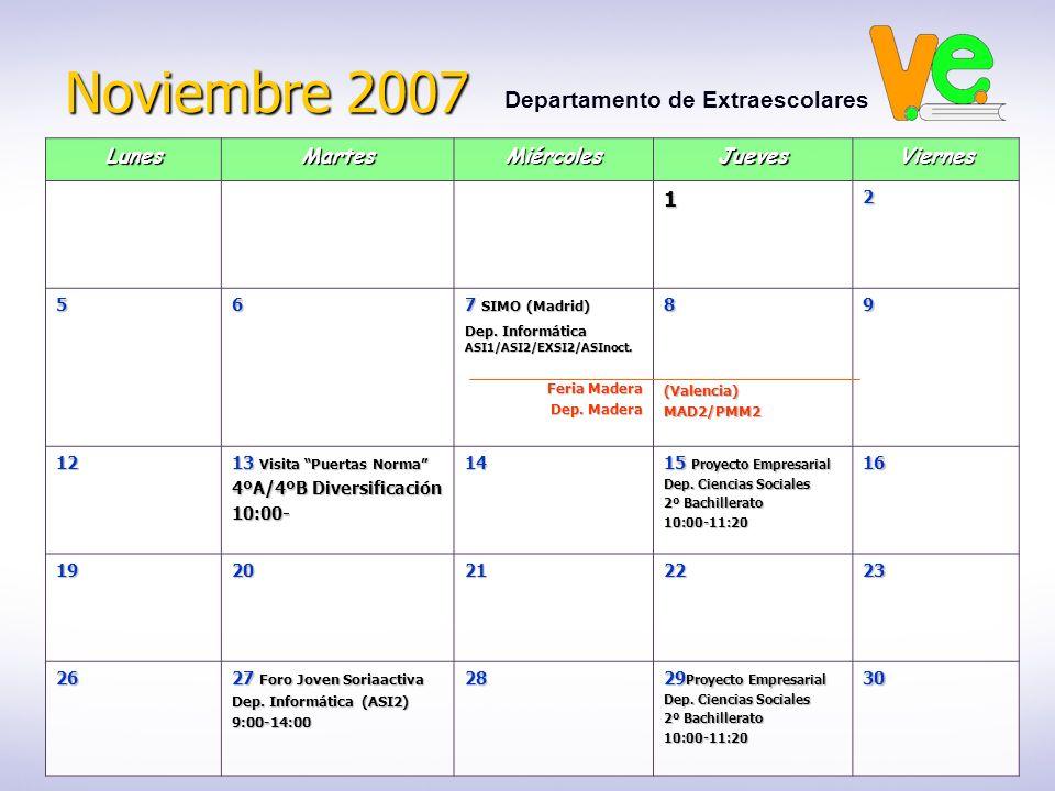 Noviembre 2007 Departamento de ExtraescolaresLunesMartesMiércolesJuevesViernes12 56 7 SIMO (Madrid) Dep.
