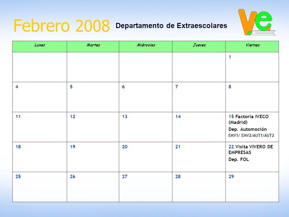 Febrero 2008 Departamento de Extraescolares LunesMartesMiércolesJuevesViernes 1 45678 1112131415 Factoría IVECO (Madrid) Dep. Automoción EMV1/ EMV2/AU