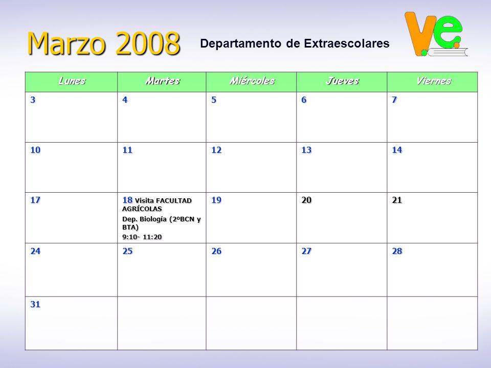 Marzo 2008 Departamento de ExtraescolaresLunesMartesMiércolesJuevesViernes34567 1011121314 17 18 Visita FACULTAD AGRÍCOLAS Dep. Biología (2ºBCN y BTA)