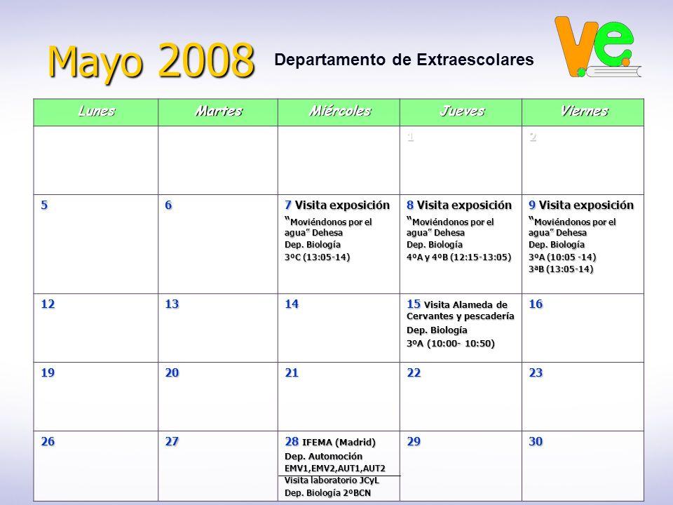 Mayo 2008 Departamento de ExtraescolaresLunesMartesMiércolesJuevesViernes12 56 7 Visita exposición Moviéndonos por el agua Dehesa Moviéndonos por el agua Dehesa Dep.