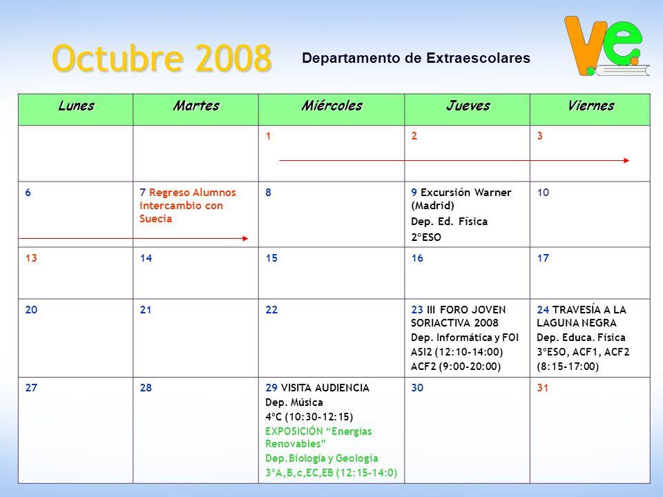 Octubre 2008 Departamento de ExtraescolaresLunesMartesMiércolesJuevesViernes 123 67 Regreso Alumnos intercambio con Suecia 89 Excursión Warner (Madrid) Dep.