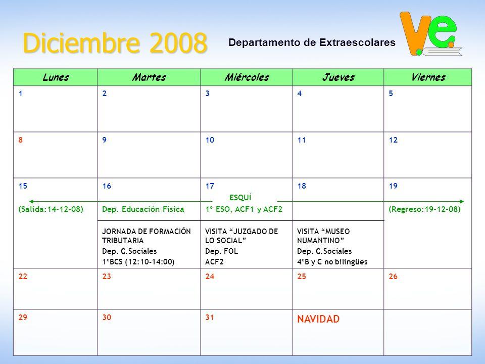 Diciembre 2008 Departamento de Extraescolares LunesMartesMiércolesJuevesViernes 12345 89101112 15 (Salida:14-12-08) 16 Dep.