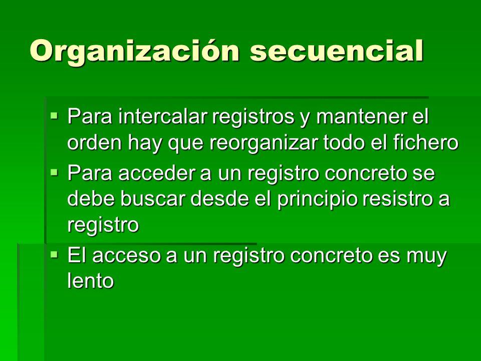 Organización secuencial Para intercalar registros y mantener el orden hay que reorganizar todo el fichero Para intercalar registros y mantener el orde