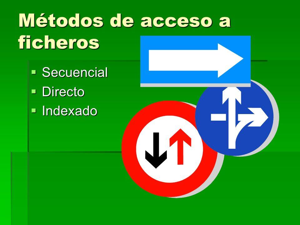 Métodos de acceso a ficheros Secuencial Secuencial Directo Directo Indexado Indexado