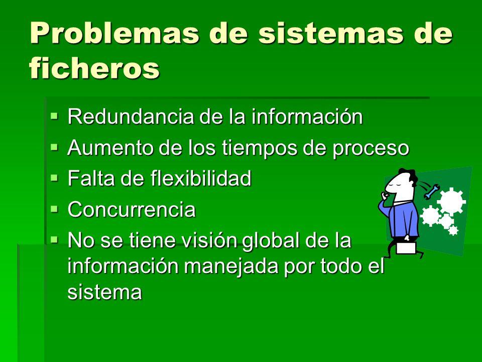 Problemas de sistemas de ficheros Redundancia de la información Redundancia de la información Aumento de los tiempos de proceso Aumento de los tiempos