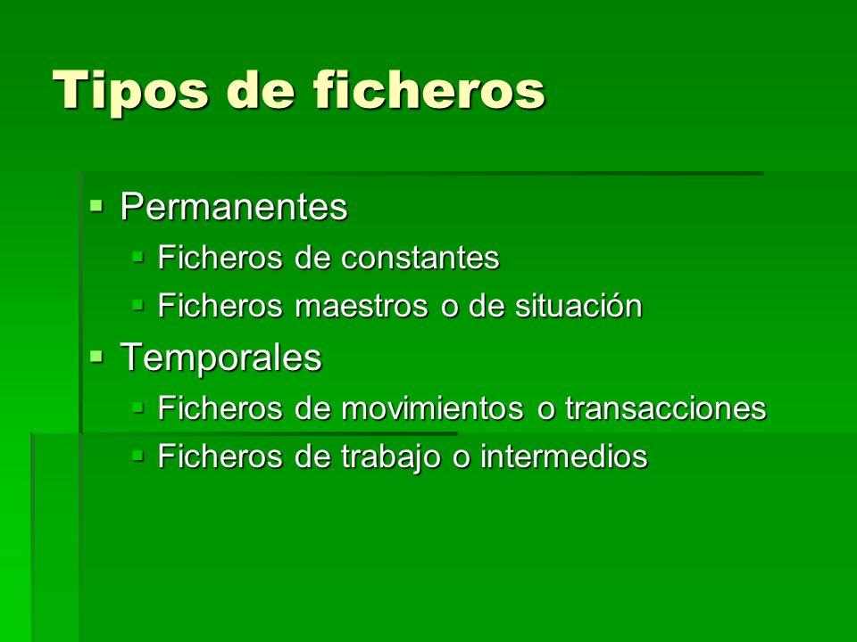 Tipos de ficheros Permanentes Permanentes Ficheros de constantes Ficheros de constantes Ficheros maestros o de situación Ficheros maestros o de situac