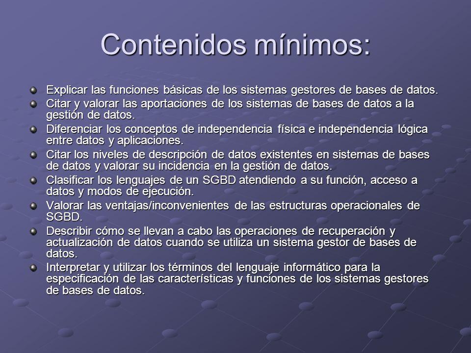 Contenidos mínimos: Explicar las funciones básicas de los sistemas gestores de bases de datos. Citar y valorar las aportaciones de los sistemas de bas