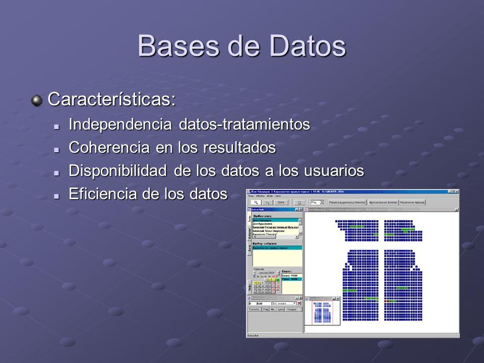 Bases de Datos Características: Independencia datos-tratamientos Independencia datos-tratamientos Coherencia en los resultados Coherencia en los resul