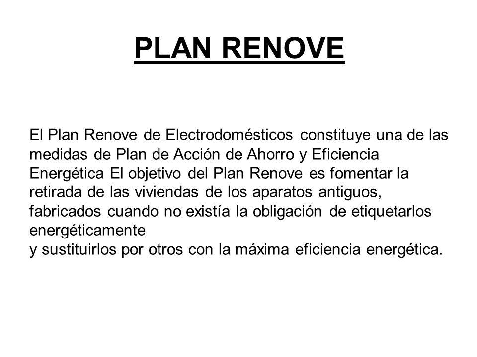 Requisitos Plan Renove Los requisitos generales del Plan Renove son los siguientes: Los potenciales beneficiarios pueden ser personas físicas o jurídicas, de naturaleza pública o privada, que sustituyan electrodomésticos de los incluidos en las líneas de apoyo.
