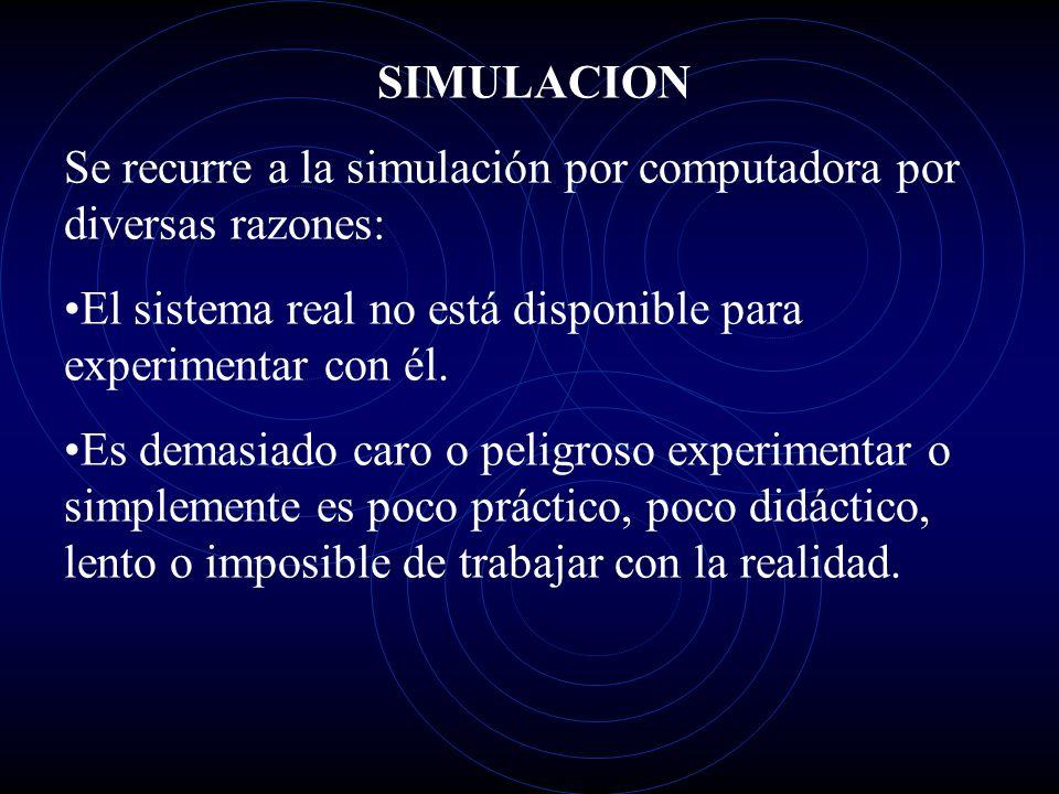 SIMULACION Se recurre a la simulación por computadora por diversas razones: El sistema real no está disponible para experimentar con él. Es demasiado