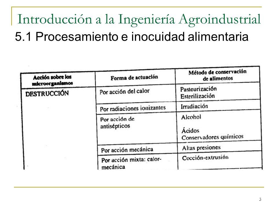 3 5.1 Procesamiento e inocuidad alimentaria
