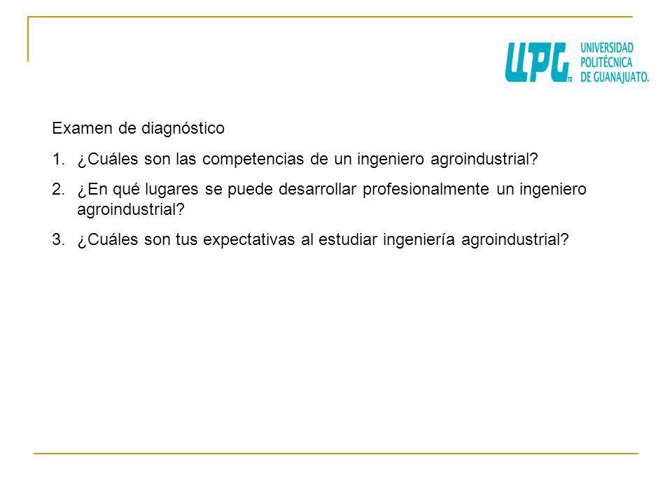 Examen de diagnóstico 1.¿Cuáles son las competencias de un ingeniero agroindustrial? 2.¿En qué lugares se puede desarrollar profesionalmente un ingeni