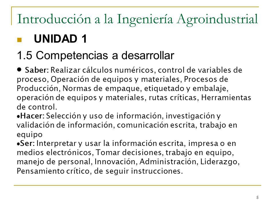 8 Introducción a la Ingeniería Agroindustrial UNIDAD 1 1.5 Competencias a desarrollar Saber: Realizar cálculos numéricos, control de variables de proc