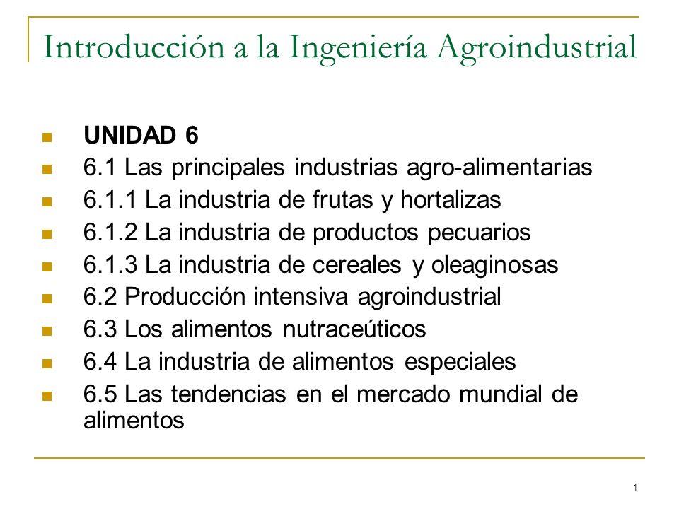 1 Introducción a la Ingeniería Agroindustrial UNIDAD 6 6.1 Las principales industrias agro-alimentarias 6.1.1 La industria de frutas y hortalizas 6.1.