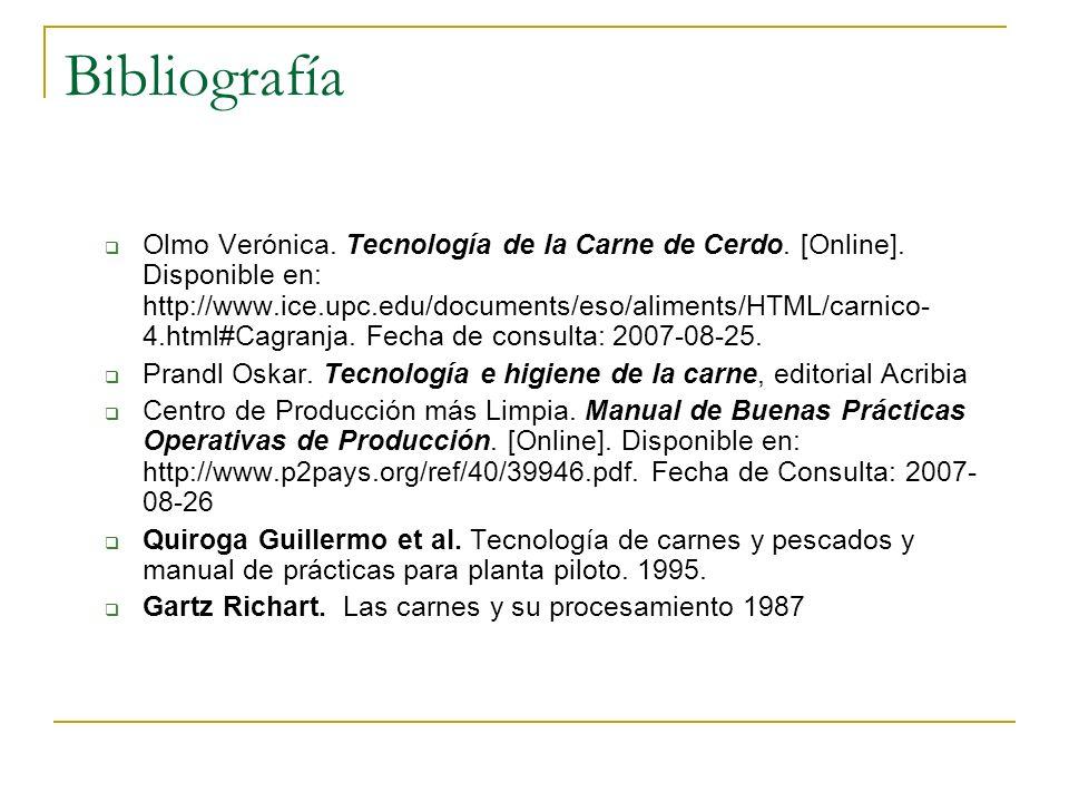 Bibliografía Olmo Verónica. Tecnología de la Carne de Cerdo. [Online]. Disponible en: http://www.ice.upc.edu/documents/eso/aliments/HTML/carnico- 4.ht