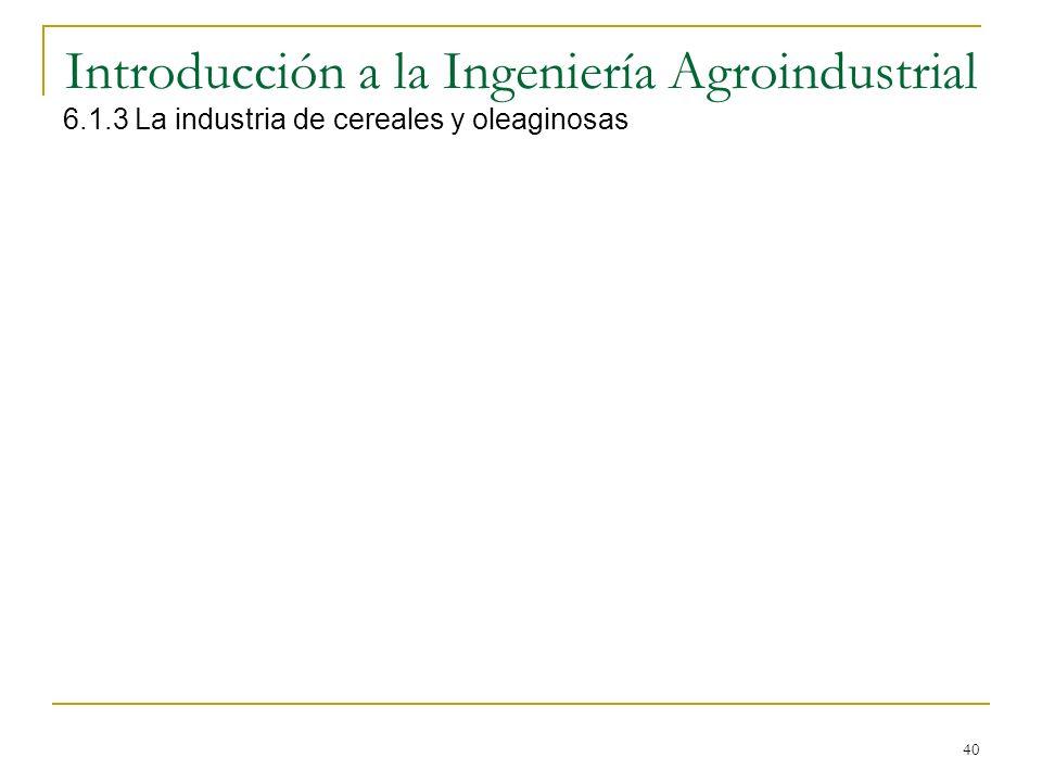 40 Introducción a la Ingeniería Agroindustrial 6.1.3 La industria de cereales y oleaginosas