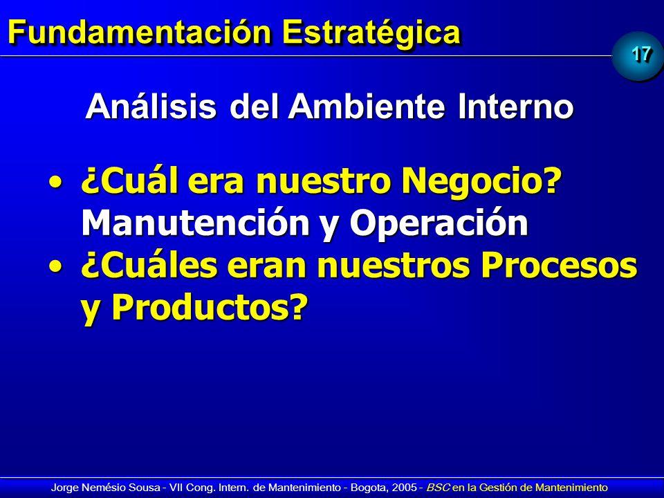 1717 Jorge Nemésio Sousa - VII Cong. Intern. de Mantenimiento - Bogota, 2005 - BSC en la Gestión de Mantenimiento Fundamentación Estratégica ¿Cuál era