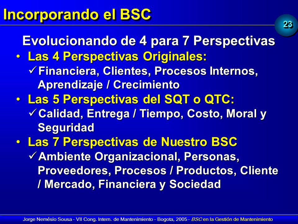 2323 Jorge Nemésio Sousa - VII Cong. Intern. de Mantenimiento - Bogota, 2005 - BSC en la Gestión de Mantenimiento Incorporando el BSC Evolucionando de