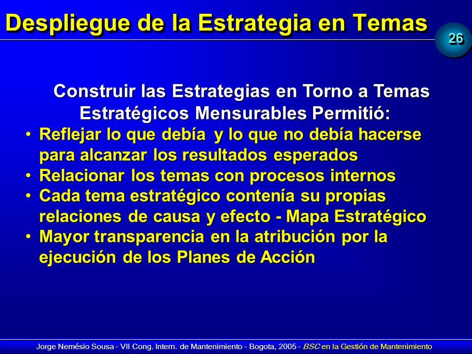 2626 Jorge Nemésio Sousa - VII Cong. Intern. de Mantenimiento - Bogota, 2005 - BSC en la Gestión de Mantenimiento Despliegue de la Estrategia en Temas