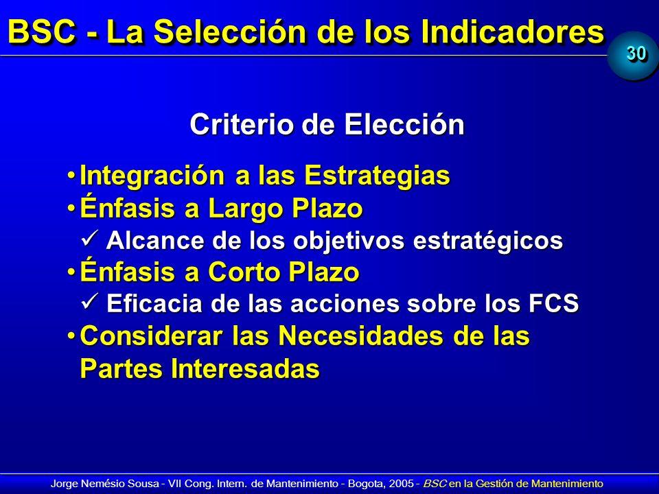 3030 Jorge Nemésio Sousa - VII Cong. Intern. de Mantenimiento - Bogota, 2005 - BSC en la Gestión de Mantenimiento BSC - La Selección de los Indicadore