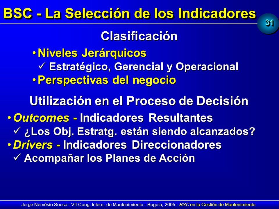 3131 Jorge Nemésio Sousa - VII Cong. Intern. de Mantenimiento - Bogota, 2005 - BSC en la Gestión de Mantenimiento BSC - La Selección de los Indicadore