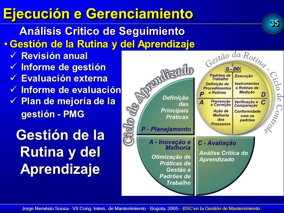 3535 Jorge Nemésio Sousa - VII Cong. Intern. de Mantenimiento - Bogota, 2005 - BSC en la Gestión de Mantenimiento Ejecución e Gerenciamiento Análisis