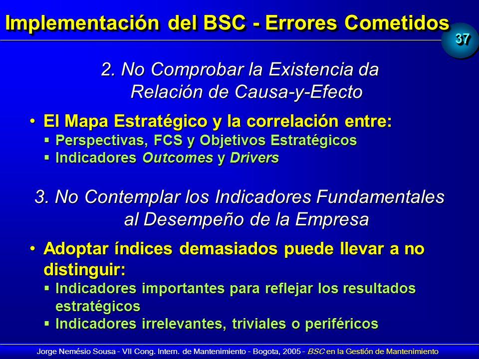 3737 Jorge Nemésio Sousa - VII Cong. Intern. de Mantenimiento - Bogota, 2005 - BSC en la Gestión de Mantenimiento Implementación del BSC - Errores Com