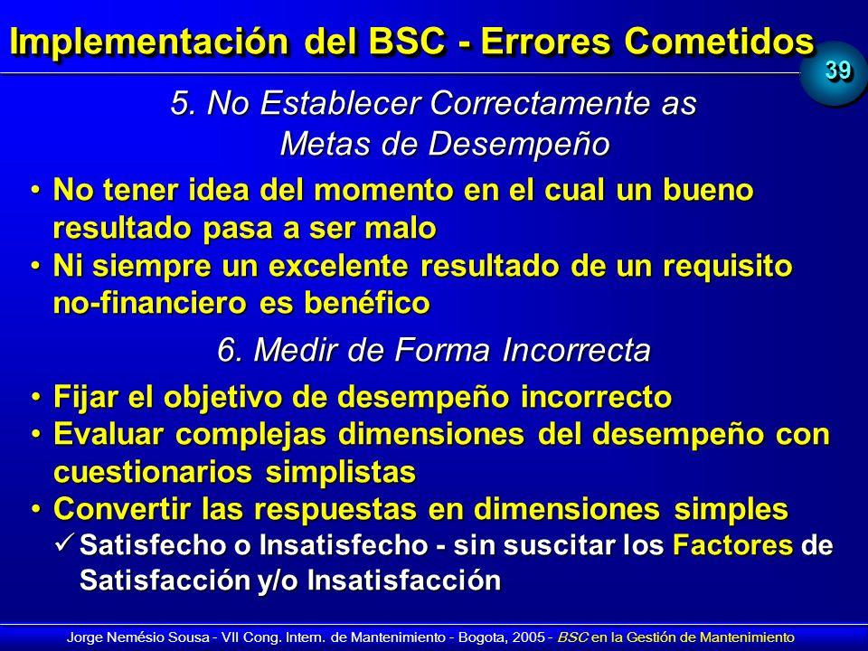 3939 Jorge Nemésio Sousa - VII Cong. Intern. de Mantenimiento - Bogota, 2005 - BSC en la Gestión de Mantenimiento Implementación del BSC - Errores Com
