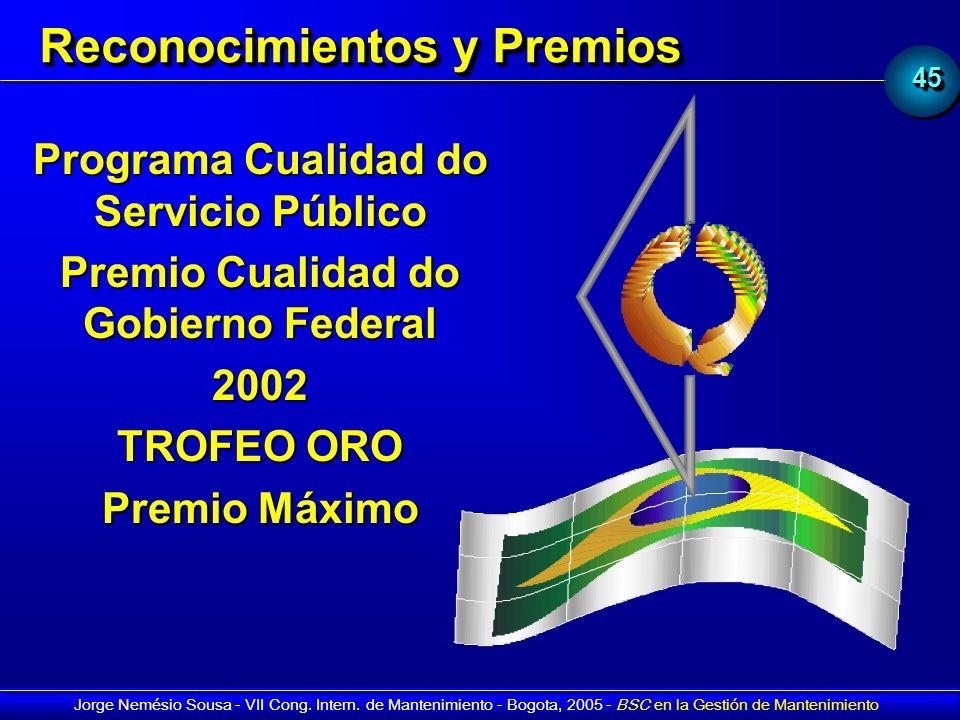 4545 Jorge Nemésio Sousa - VII Cong. Intern. de Mantenimiento - Bogota, 2005 - BSC en la Gestión de Mantenimiento Programa Cualidad do Servicio Públic