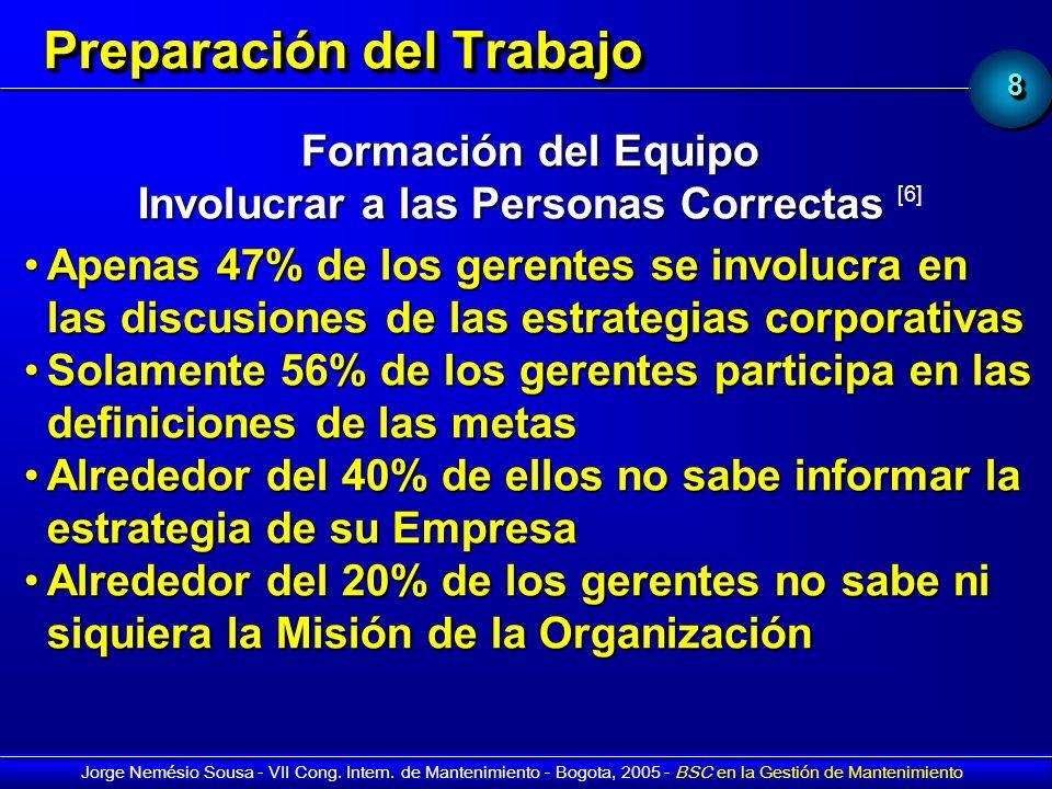 88 Jorge Nemésio Sousa - VII Cong. Intern. de Mantenimiento - Bogota, 2005 - BSC en la Gestión de Mantenimiento Preparación del Trabajo Formación del