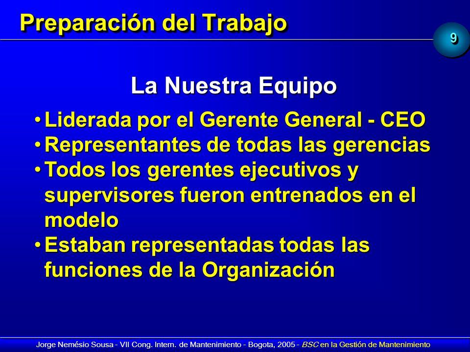 99 Jorge Nemésio Sousa - VII Cong. Intern. de Mantenimiento - Bogota, 2005 - BSC en la Gestión de Mantenimiento Preparación del Trabajo La Nuestra Equ