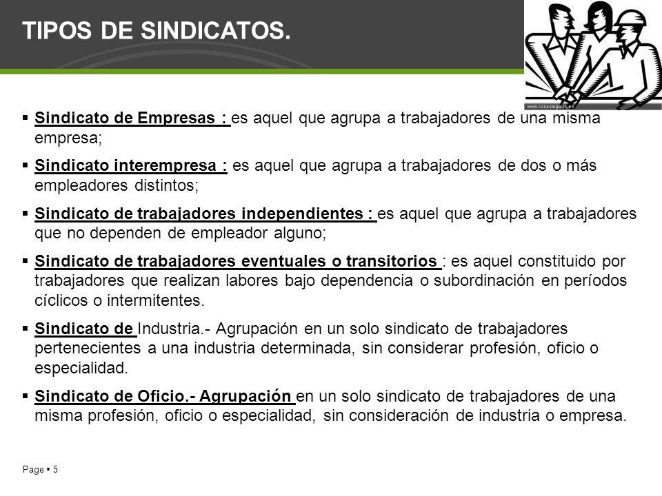 Page 5 TIPOS DE SINDICATOS. Sindicato de Empresas : es aquel que agrupa a trabajadores de una misma empresa; Sindicato interempresa : es aquel que agr