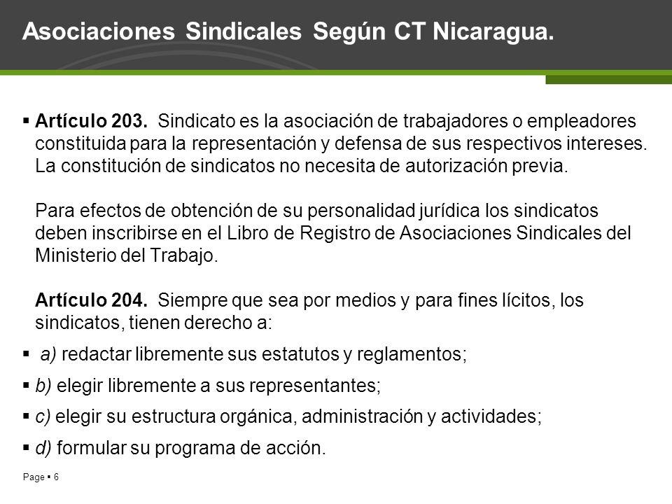 Page 6 Asociaciones Sindicales Según CT Nicaragua. Artículo 203. Sindicato es la asociación de trabajadores o empleadores constituida para la represen