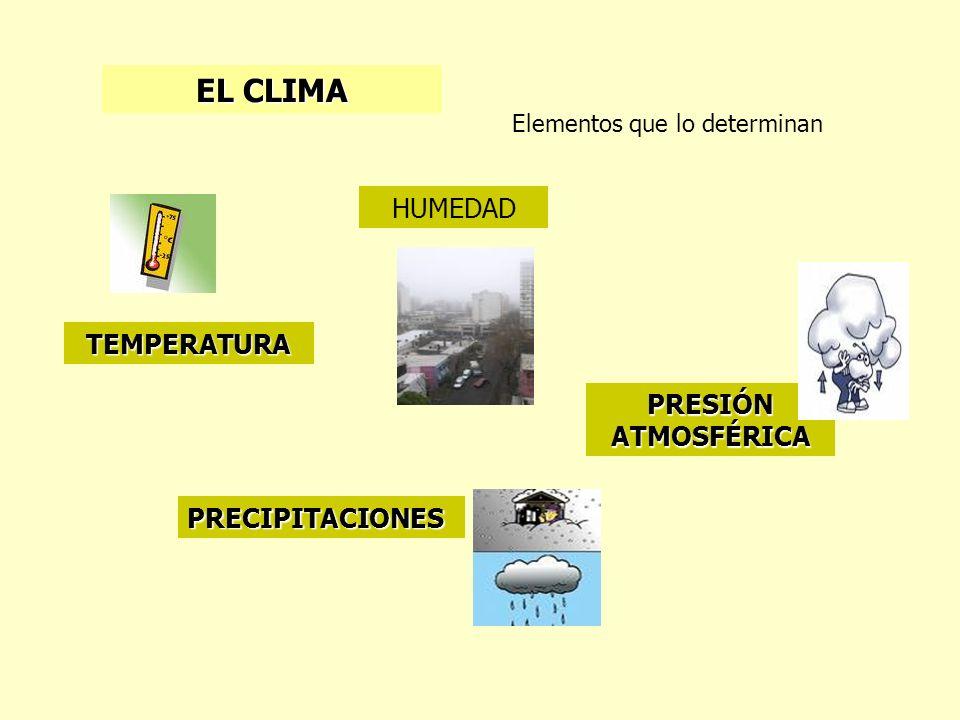 EL CLIMA Elementos que lo determinan PRECIPITACIONES TEMPERATURA HUMEDAD PRESIÓN ATMOSFÉRICA