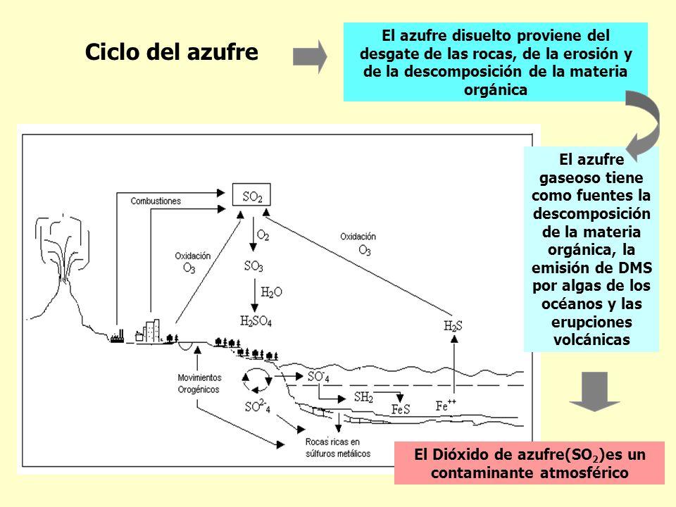 Ciclo del azufre El azufre disuelto proviene del desgate de las rocas, de la erosión y de la descomposición de la materia orgánica El azufre gaseoso t