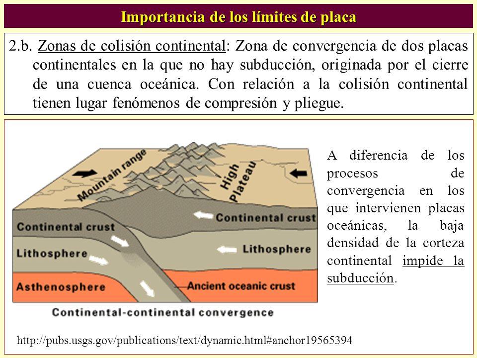 2.b. Zonas de colisión continental: Zona de convergencia de dos placas continentales en la que no hay subducción, originada por el cierre de una cuenc