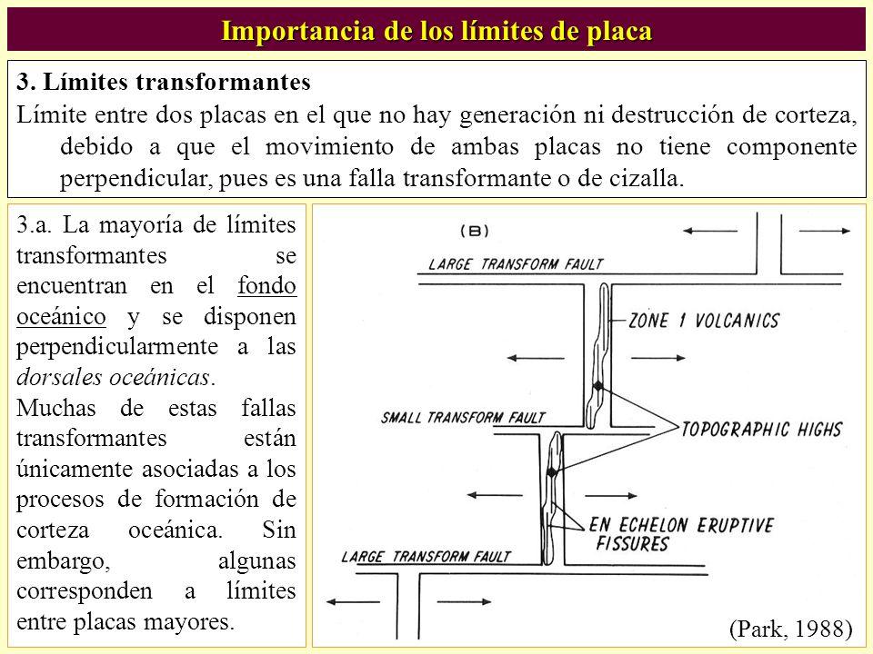 3. Límites transformantes Límite entre dos placas en el que no hay generación ni destrucción de corteza, debido a que el movimiento de ambas placas no