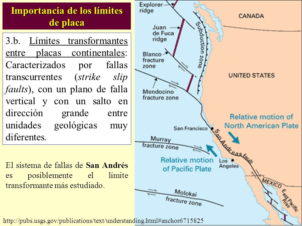 http://pubs.usgs.gov/publications/text/understanding.html#anchor6715825 3.b. Límites transformantes entre placas continentales: Caracterizados por fal