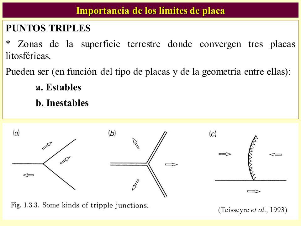 PUNTOS TRIPLES * Zonas de la superficie terrestre donde convergen tres placas litosféricas. Pueden ser (en función del tipo de placas y de la geometrí