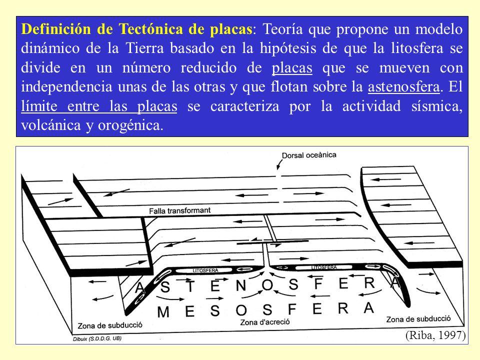 Definición de Tectónica de placas: Teoría que propone un modelo dinámico de la Tierra basado en la hipótesis de que la litosfera se divide en un númer