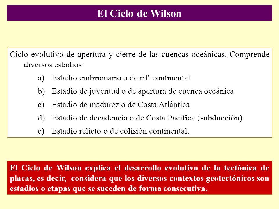 El Ciclo de Wilson Ciclo evolutivo de apertura y cierre de las cuencas oceánicas. Comprende diversos estadios: a)Estadio embrionario o de rift contine
