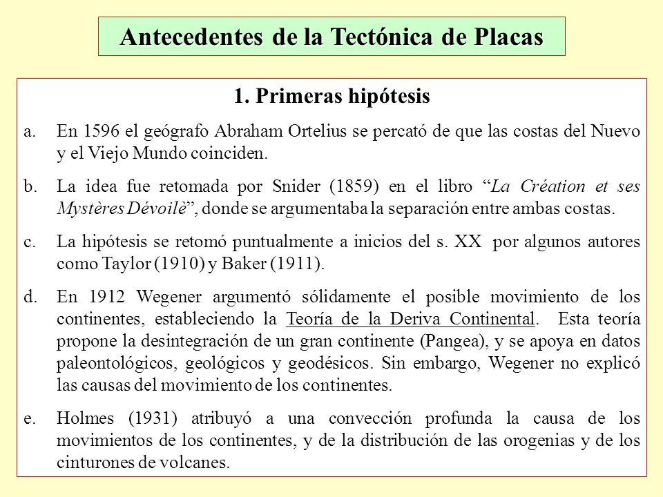 Antecedentes de la Tectónica de Placas 1. Primeras hipótesis a.En 1596 el geógrafo Abraham Ortelius se percató de que las costas del Nuevo y el Viejo