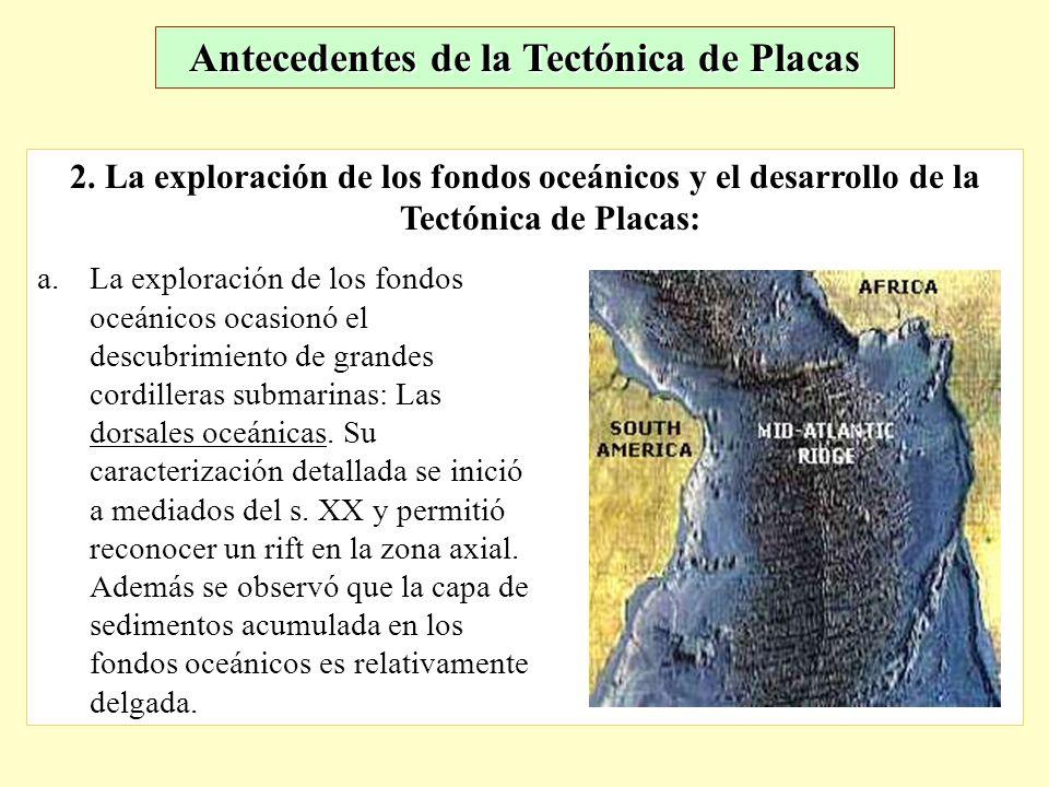 2. La exploración de los fondos oceánicos y el desarrollo de la Tectónica de Placas: a.La exploración de los fondos oceánicos ocasionó el descubrimien