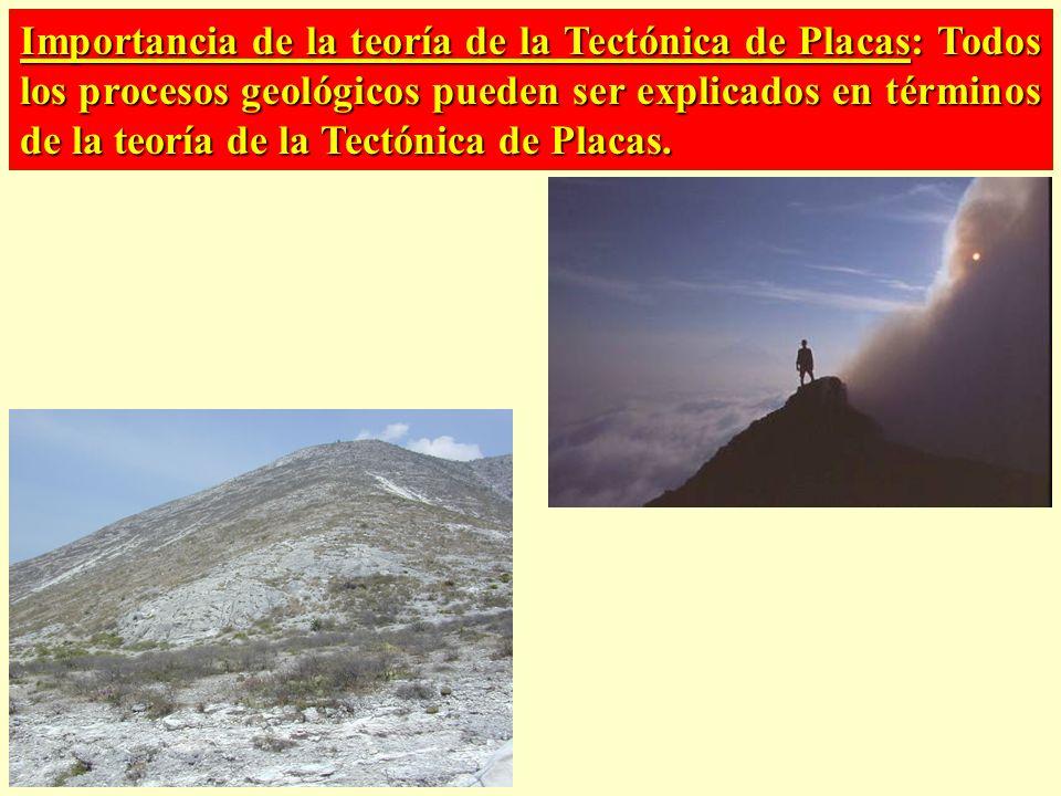 Importancia de la teoría de la Tectónica de Placas: Todos los procesos geológicos pueden ser explicados en términos de la teoría de la Tectónica de Pl