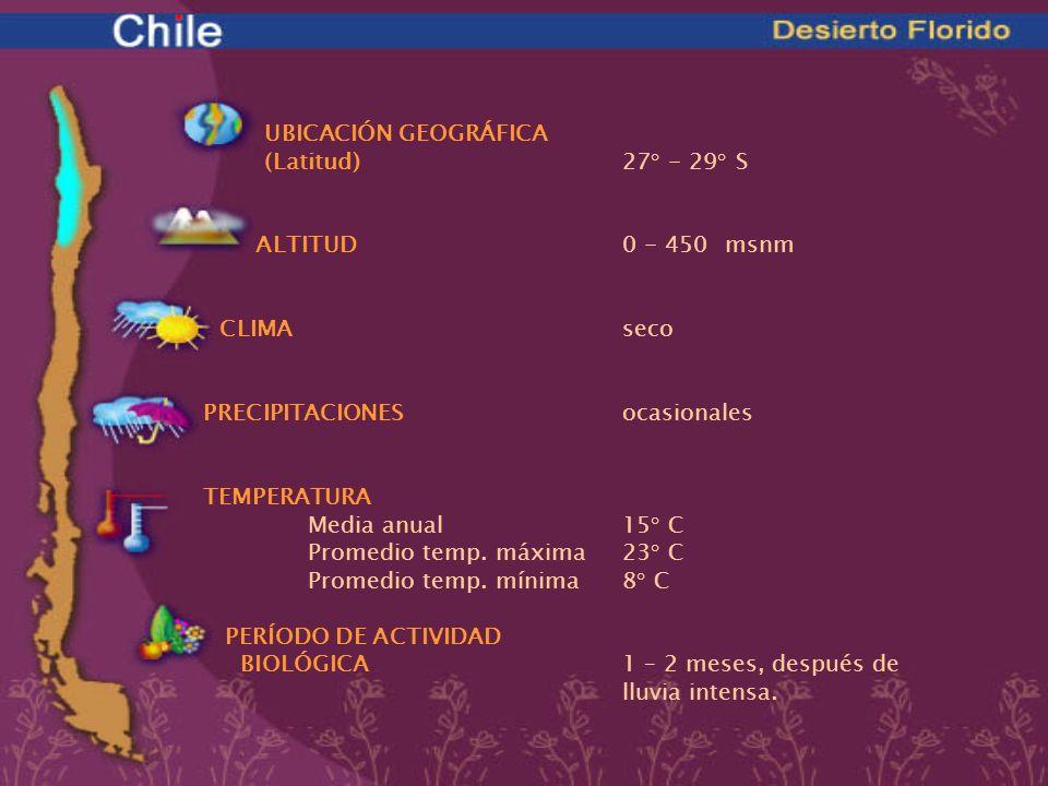 UBICACIÓN GEOGRÁFICA (Latitud)27° - 29° S ALTITUD0 - 450 msnm CLIMAseco PRECIPITACIONESocasionales TEMPERATURA Media anual15° C Promedio temp. máxima2